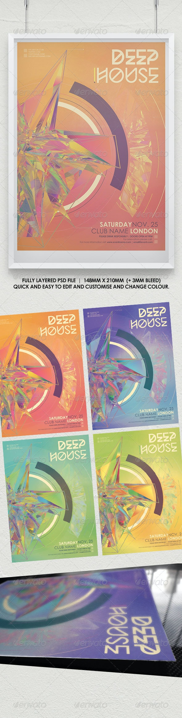 Deep House Abstract Flyer Vol 1 - Clubs & Parties Events