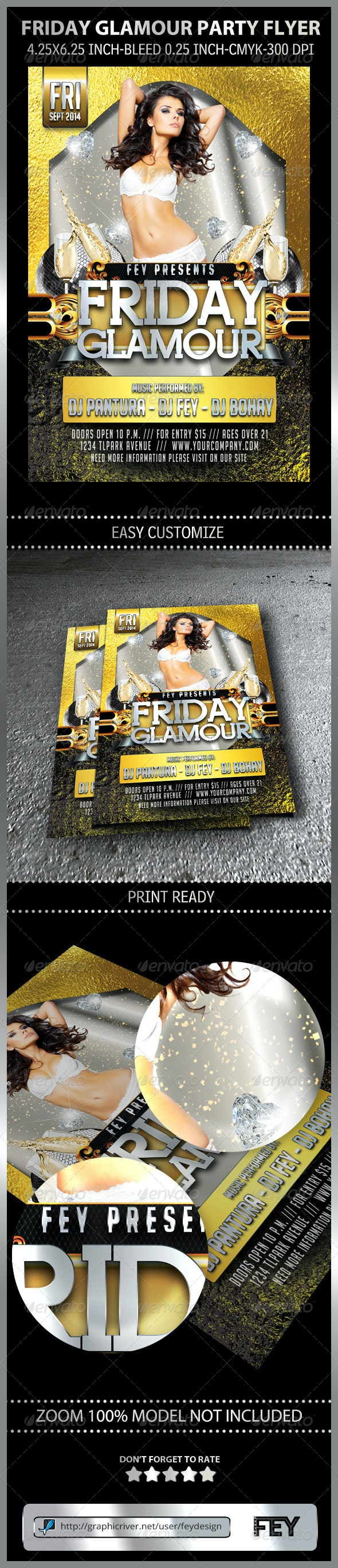 Friday Glamour Party Flyer - Clubs & Parties Events