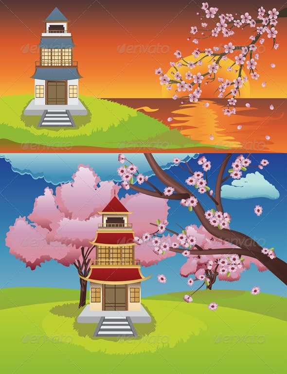 Oriental House and Blooming Sakura - Buildings Objects