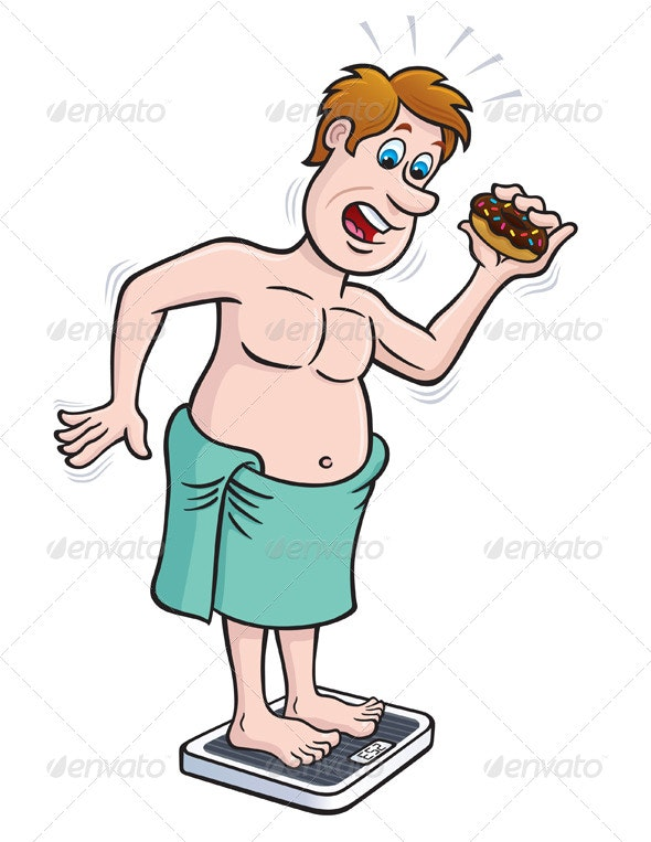 Overweight Man on Bathroom Scale - Health/Medicine Conceptual