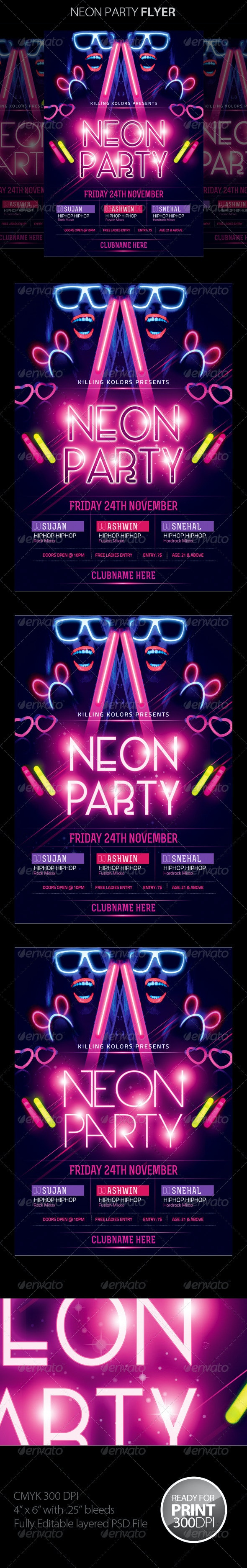 Neon / Glow Party Flyer - Clubs & Parties Events