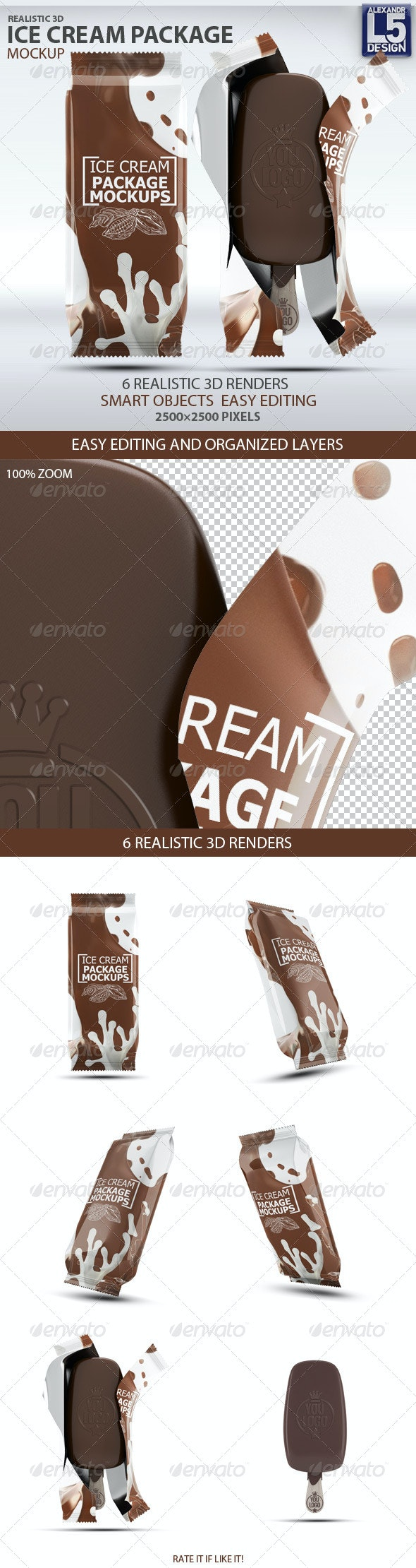 Ice Cream Package Mock-Up - Food and Drink Packaging