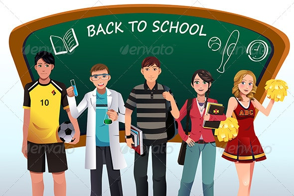 Back to School Background - People Characters