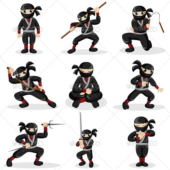 Ninja Kids in Different Poses - Sports/Activity Conceptual