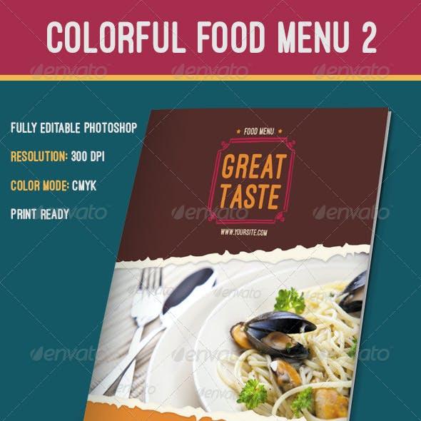 Colorful Food Menu