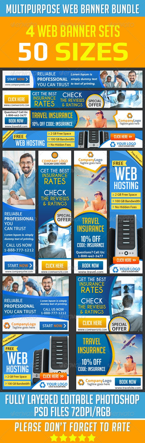 Web Banner Ad Design Bundle  - Banners & Ads Web Elements
