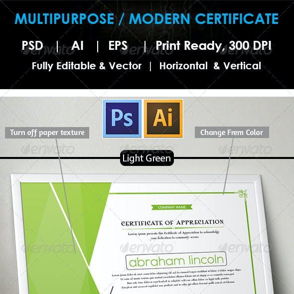 Simple Multipurpose Certificate GD012