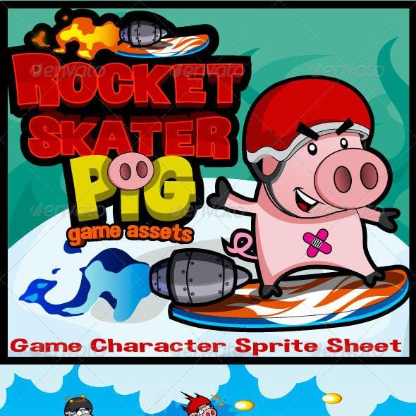 Side Scrolling Game Character: Rocket Skater Pig