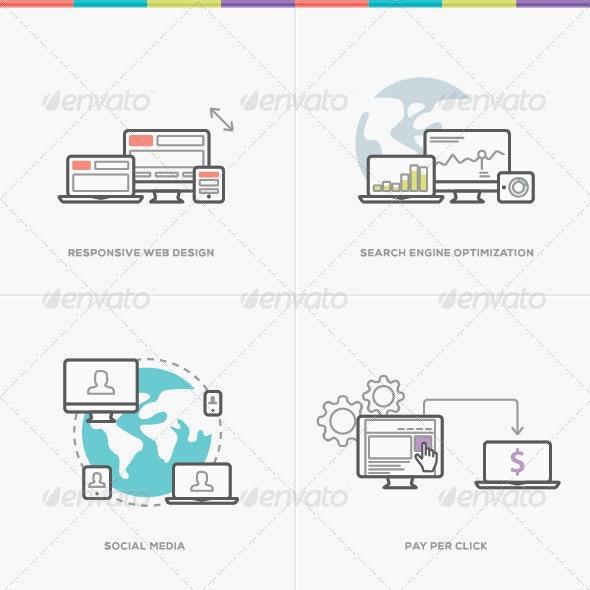 Flat Web Development Vector Concepts  - Computers Technology