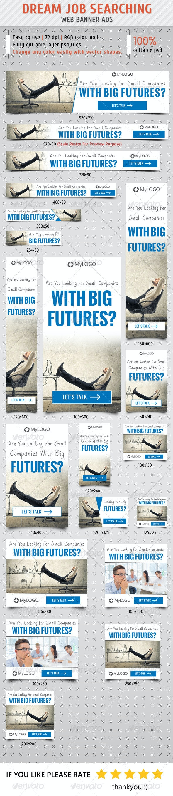 Job Searching Web Banner Ads - Banners & Ads Web Elements