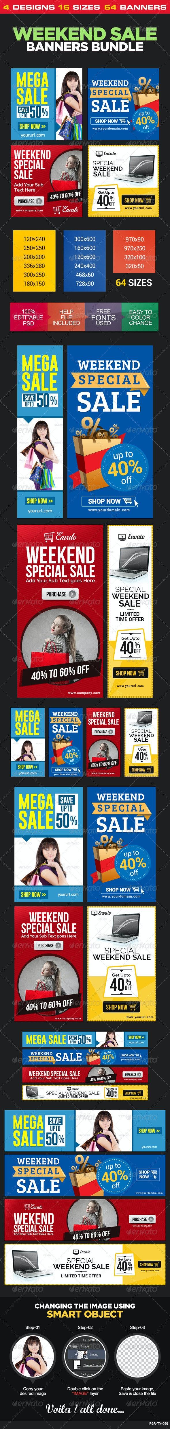 Weekend Sale Banner Bundle - 4 Sets