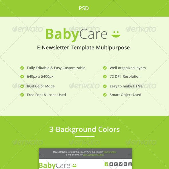 Baby Care- Multipurpose E-newsletter PSD Template