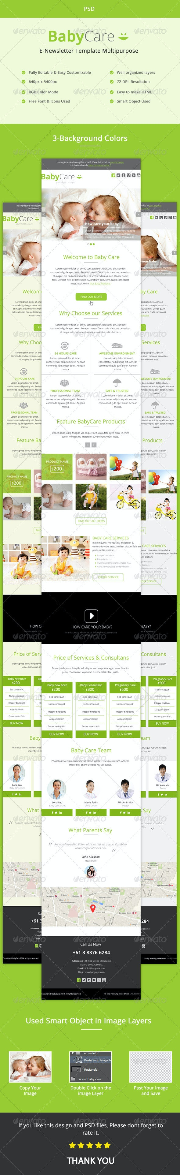 Baby Care- Multipurpose E-newsletter PSD Template