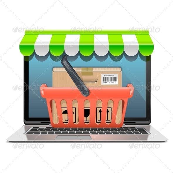 Vector Computer Shopping Concept - Commercial / Shopping Conceptual