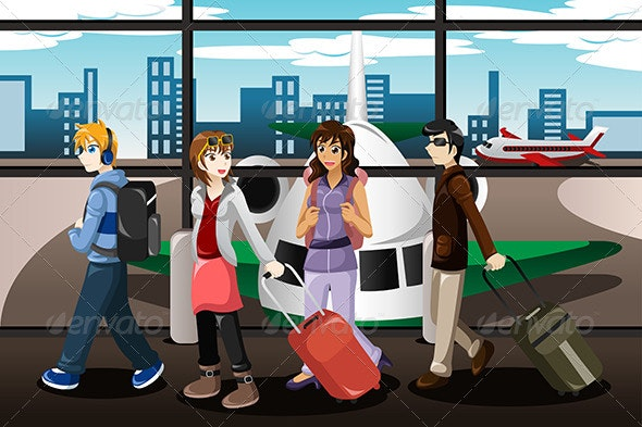 Group of Young People Traveling Together - Travel Conceptual