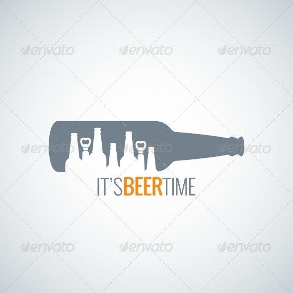 Beer Bottle City Design Background - Food Objects