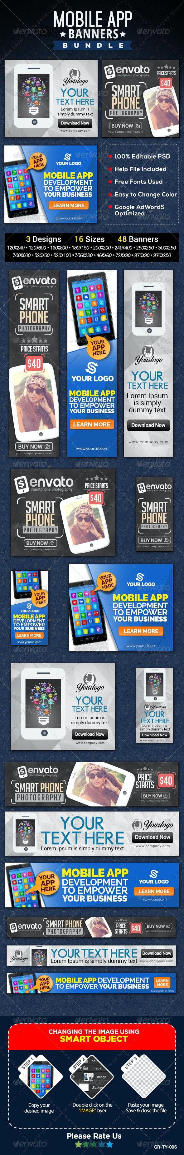 Mobile App Banner Bundle - 3 Sets - Banners & Ads Web Elements