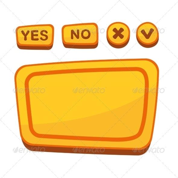 Cartoon Style Buttons - Web Elements Vectors