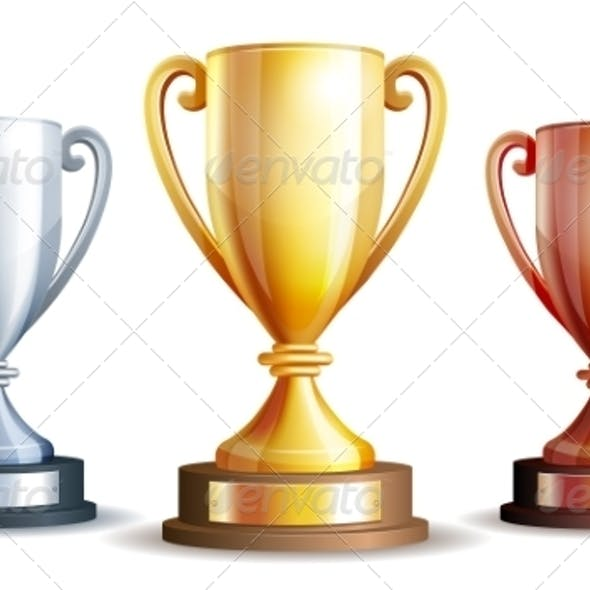 Vector Gold, Silver and Bronze Winners Cup