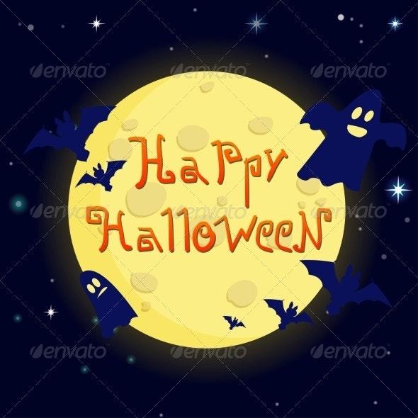 Cartoon Illustration Happy Halloween on Background - Halloween Seasons/Holidays