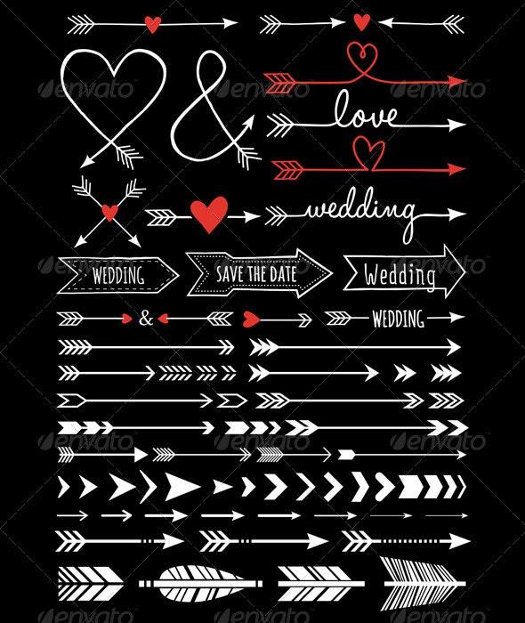 Hand-Drawn Wedding Arrows - Weddings Seasons/Holidays