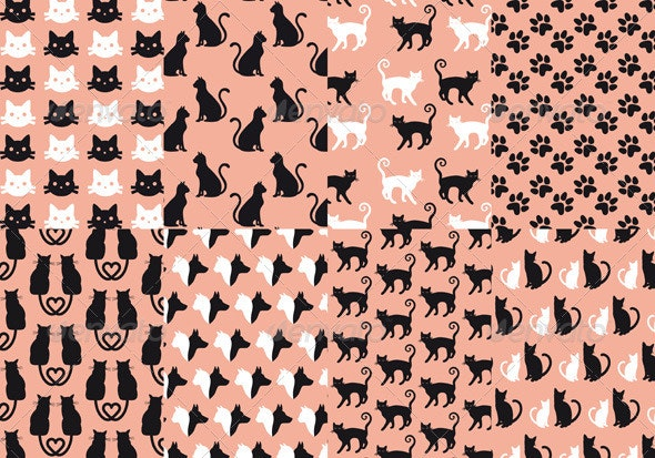 Cat And Dog Seamless Pattern, Vector Set - Animals Characters