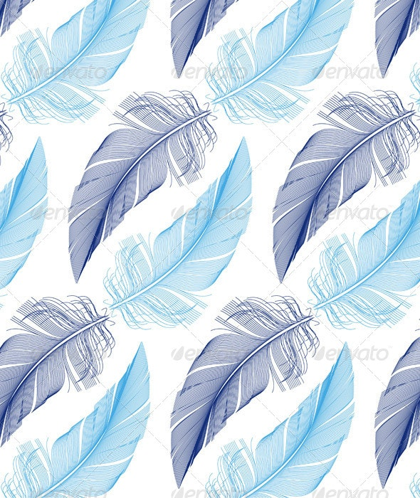 Feather Seamless Pattern, Vector - Patterns Decorative