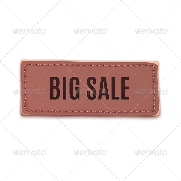 Big Sale, Old Vintage Handmade Leather Label - Retail Commercial / Shopping