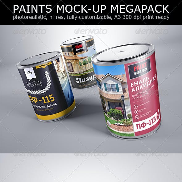 Photorealistic Wall Paints 3 Layout Mock-up
