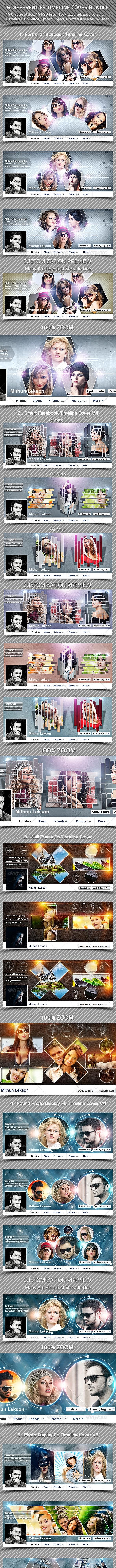 5 Different Facebook Timeline Cover Bundle - Facebook Timeline Covers Social Media