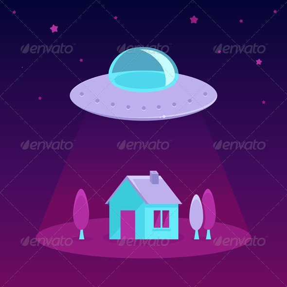 Vector UFO Cartoon Illustration in Flat Style - Conceptual Vectors