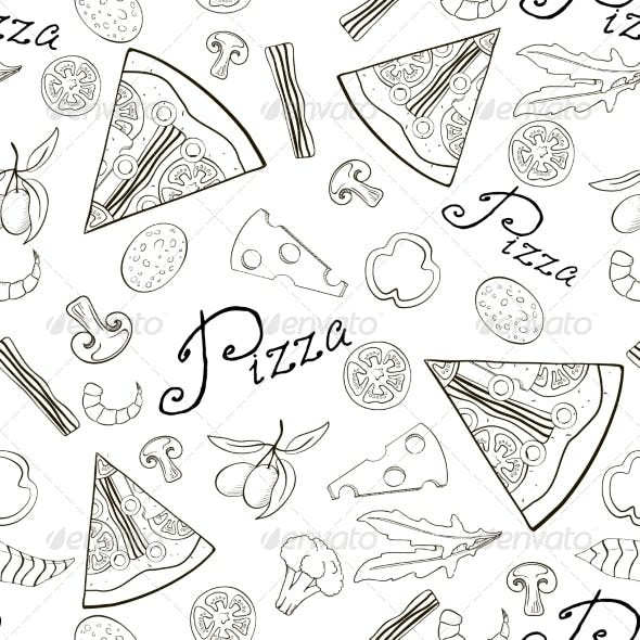 Seamless Pattern Hand-Drawn Pizza with Ingredients