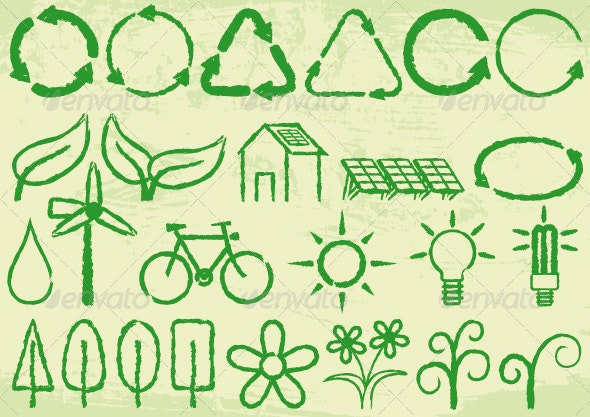 Green Icons - Decorative Symbols Decorative