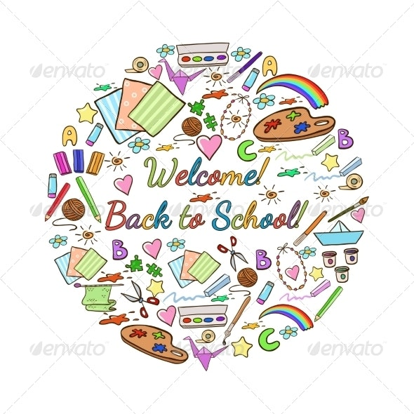 Vector School Items. Back to School. - Backgrounds Decorative