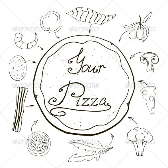 Hand-Drawn Pizza with Ingredients