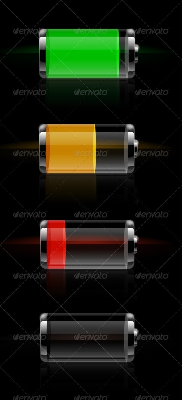 Glossy Transparent Battery Level Indicator - Man-made Objects Objects