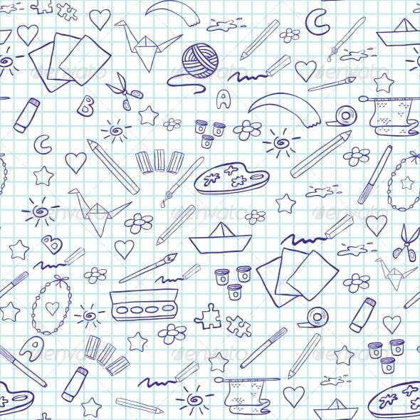 School Seamless Pattern. Elements of Creativity