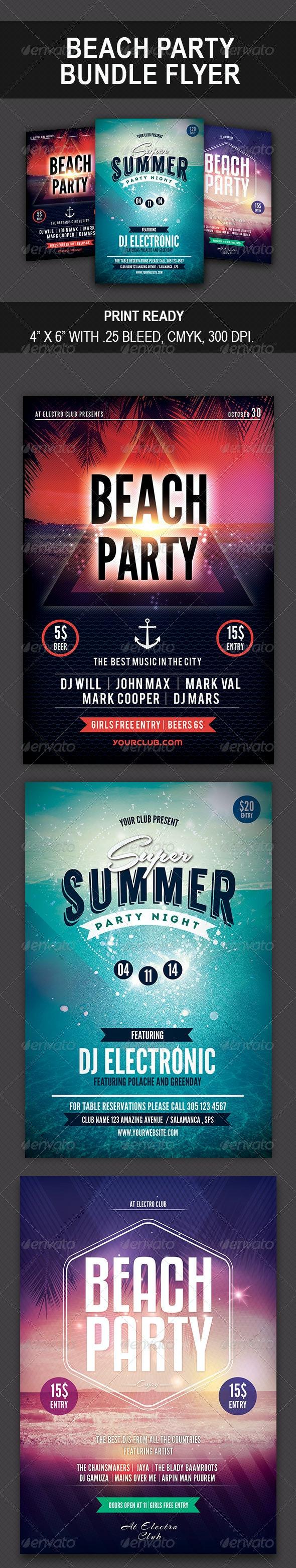 Beach Party Bundle Flyer - Events Flyers