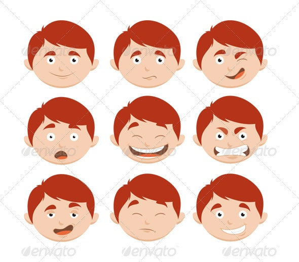 Boy Face Expressions - People Characters
