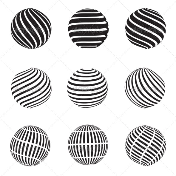 Abstract Dotted, Swirls and Grill Spheres