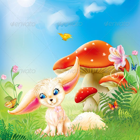 Fairy Baby Fox with Background