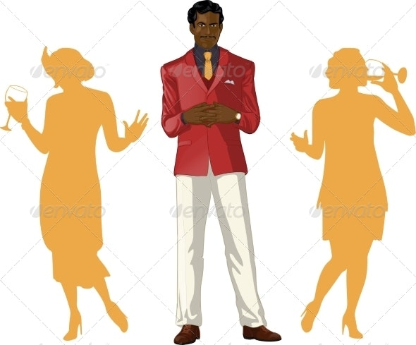 Male Party Host with Female Guests - People Characters