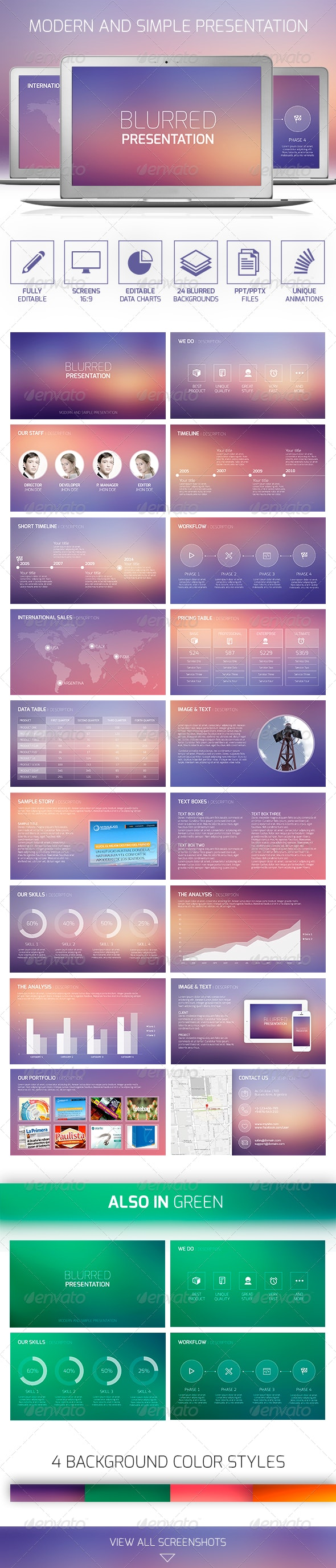 Blurred Presentation PowerPoint - PowerPoint Templates Presentation Templates