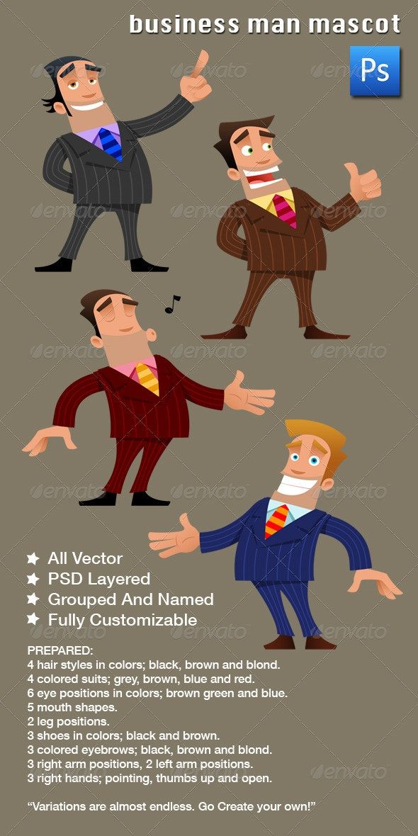 Business Man Mascot - Characters Illustrations