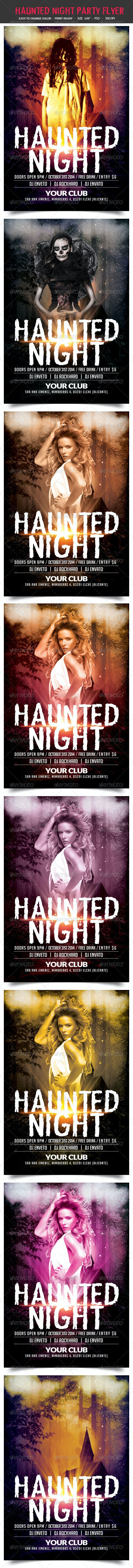 Haunted Night Party Flyer - Clubs & Parties Events