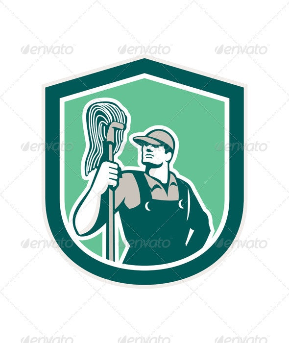 Janitor Holding Mop Retro Shield - People Characters