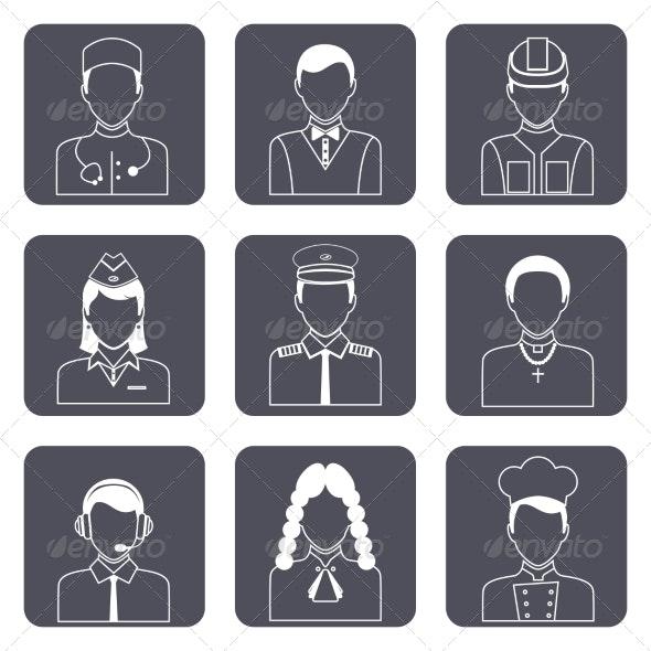Professional Avatar Icons Set - Web Elements Vectors