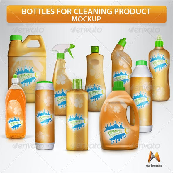 Bottles for Cleaning Products Mockup
