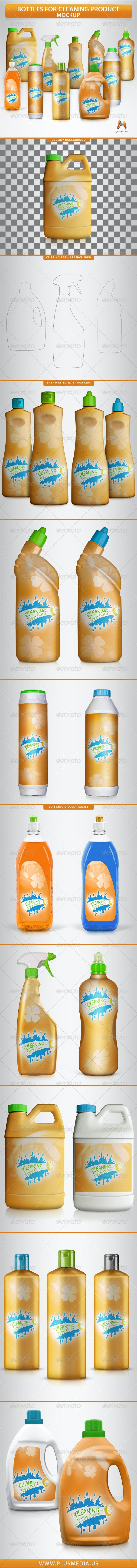 Bottles for Cleaning Products Mockup - Product Mock-Ups Graphics