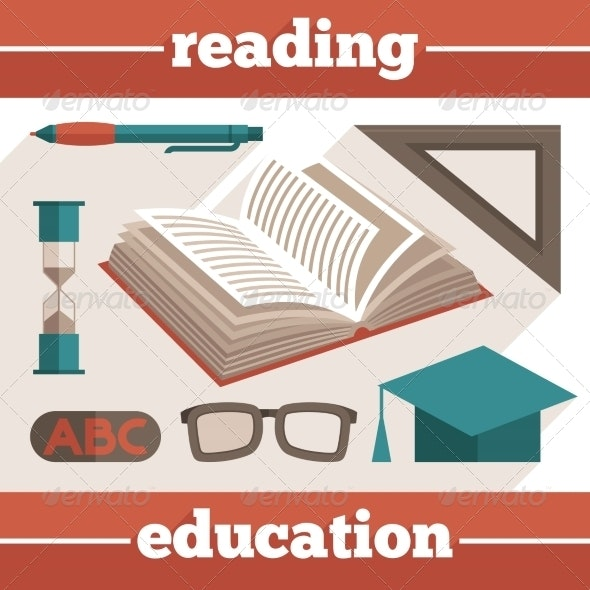 Education Reading Icons Set - Miscellaneous Vectors
